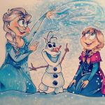 FROZEN-Elsa, Olaf and Anna by BenjiLion09