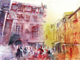 Sarlat - Watercolor - For sale original by nicolasjolly