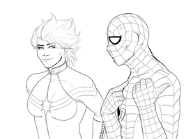 The Captain and Spidey - Lineart by Snowman1940