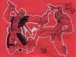 Deadpool vs Spider-man by madmagnus