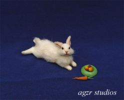 Handmade Lying white Bunny Rabbit by AGZR-STUDIOS