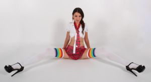 school girl/rainbow stockings combo by Aszap