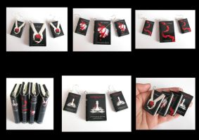 Twilight Saga Book Pendant and Earrings by Devilish--Designs