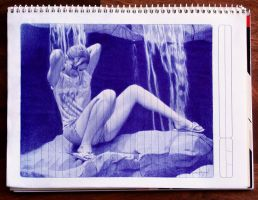 Before the Bath - Ballpoint pen study by LopezLorenzana