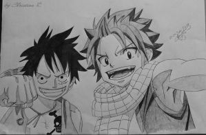 Crossover Luffy and Natsu by Monstacookie