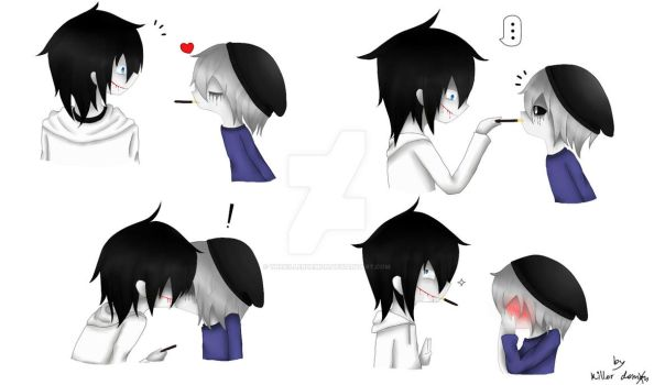 pocky kiss - nick vanill x jeff the killer by TheKillerDemon
