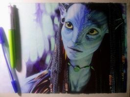 Neytiri (in biro) (WIP5) by zwoman