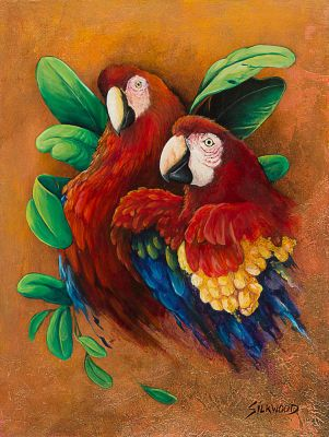 Two Red Macaws by Gallery-of-Art