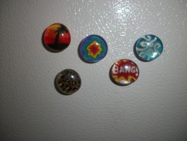 Glass Hand Painted Magnets by QueenAliceOfAwesome