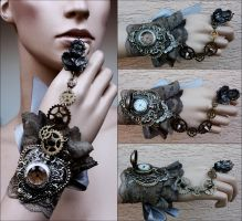 Cherub ring watch cuff by Pinkabsinthe
