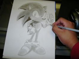 Me drawing Sonic The Hedghog by Esteban1988