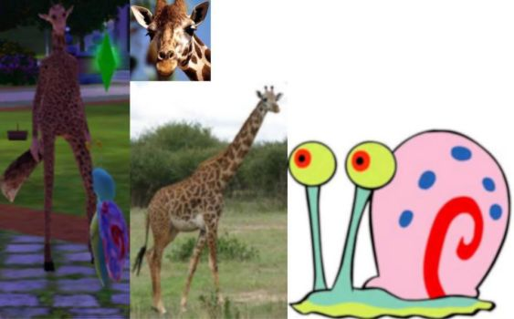 Giraffe and Gary from spongebob by Alberta360