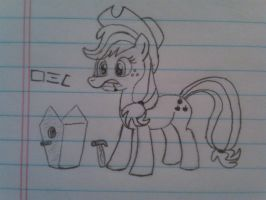 Applejack Fixin' Up a Bird House by Wil0wah
