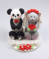 Panda Bear and Grey Cat Wedding Cake Topper by HeartshapedCreations
