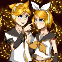 Kagamine Rin and Len (Vocaloids) by Ahkhai1999