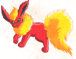 WILD FLAREON APPEARED by StarGazingKitten