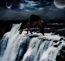 Horse on Waterfall by letrainfalldown