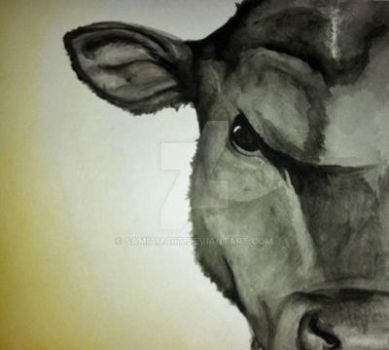 Angus - Cow Watercolor Painting by SamIamArt