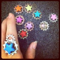 Star catcher steampunk rings by Tigermint