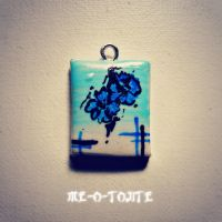Blue Flower Mini Painting Charm by Me-O-Tojite