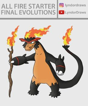 All Fire Starters Final Evolutions Fusion by LyndorDraws