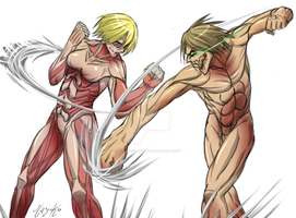 Titan Eren vs Female Titan by mayoku-artz