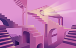 Mad pink stairs by Ombreuse