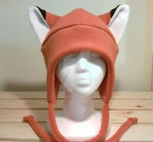Orange FOX fleece hat cosplay by qutewear