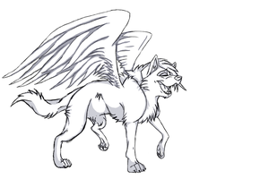 Free Winged Wolf Lineart by Wolfieluv6