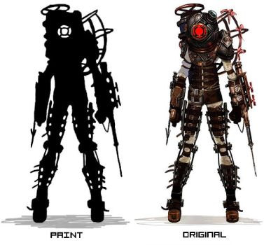 Bioshock 2 Big Sister silhouette paint made by roky146