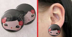 Geisha earring red by Elichan83