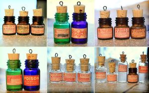 Glass Poison Bottle Charms 2 by asunder