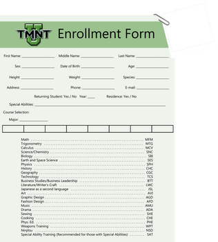 TMNT U Enrollment Form Blank by TMNT-Raph-fan