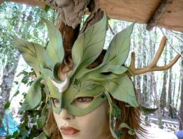 Alder tree spirit leather mask by faerywhere