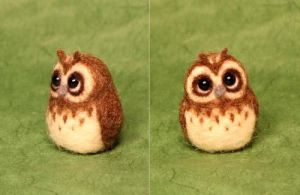 Needle felted short-eared owl by Sofakitty
