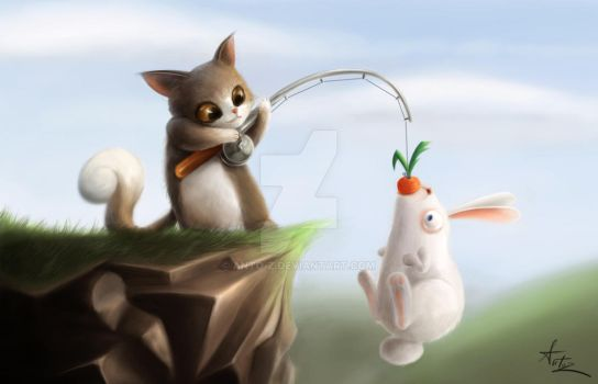 cat and rabbit by Anto-Z