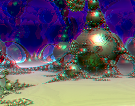 Kleinian drops by Theli-at Anaglyph 2 Stereoscopy by Osipenkov