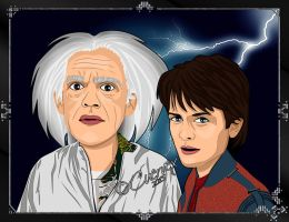 Marty Mc Fly and The Doc Emmett Brown by Cuervex