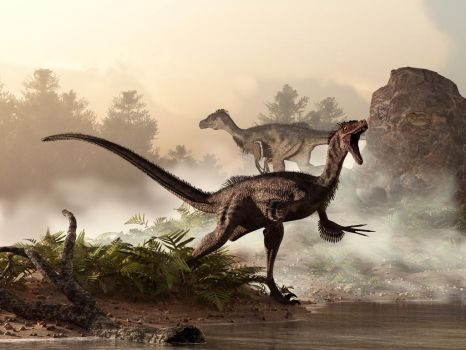 Velociraptors Prowling the Shoreline by deskridge