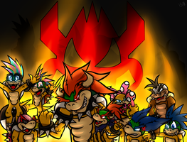 Bowser's Family + Speed Paint by Randomthewolfskie