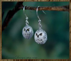 Ceramic Owl Earrings - Silver Grey and White by StephaniePride