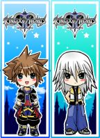 Riku + Sora bookmarks by SiliceB