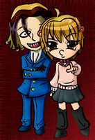 chibi yako and neuro color by FlabberGhaster