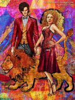 River Song and the Doctor - Lion Tamer by evisionarts