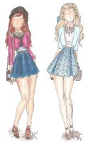Disney Princess Fashion | Anna and Elsa by VianaDrawings
