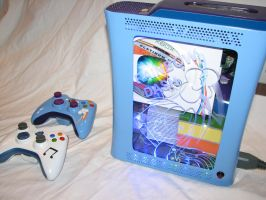 Rainbow Dash Custom Xbox 360 - Interior Clear by Nightowl3090