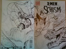 Wolverine vs the Brood Sketch cover WIP by ElfSong-Mat