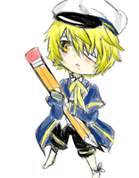 Chibi Oliver holding a Pencil by The89thAlice