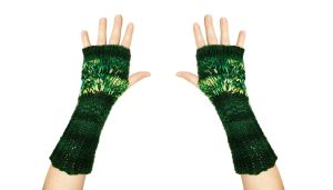 Green Trees Fingerless Mittens by TheSleepyRabbit