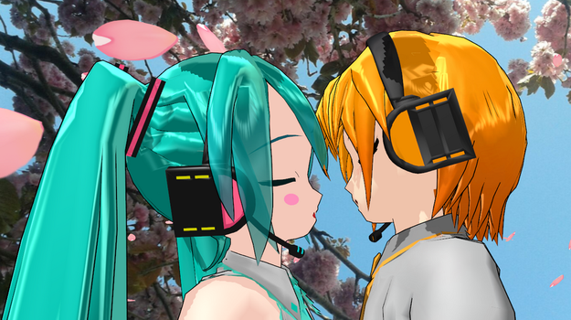 Miku x Nestie Kiss in the Sakura Rain by NestieBot